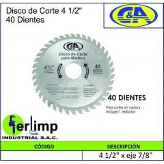 """DISCO DE CORTE 4.1/2"""" CON..."""